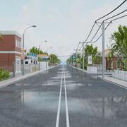 SMALL CITY TOWN TILEABLE SCENE 3d model