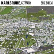 Karlsruhe Germany 50x50km 3d model
