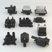 10 pièces de voiture de moteur 3d model