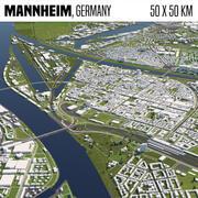 Mannheim Germania 50x50km 3d model