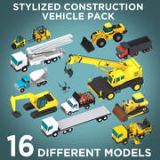 Stylized Construction Vehicle Pack 3d model