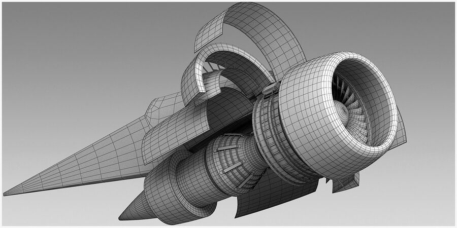 Commercial Aircraft Engine royalty-free 3d model - Preview no. 17