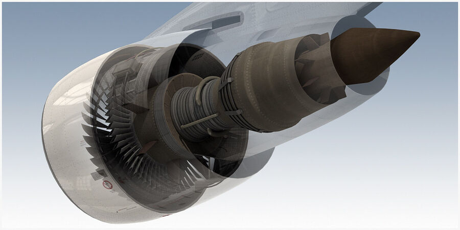 Commercial Aircraft Engine royalty-free 3d model - Preview no. 12