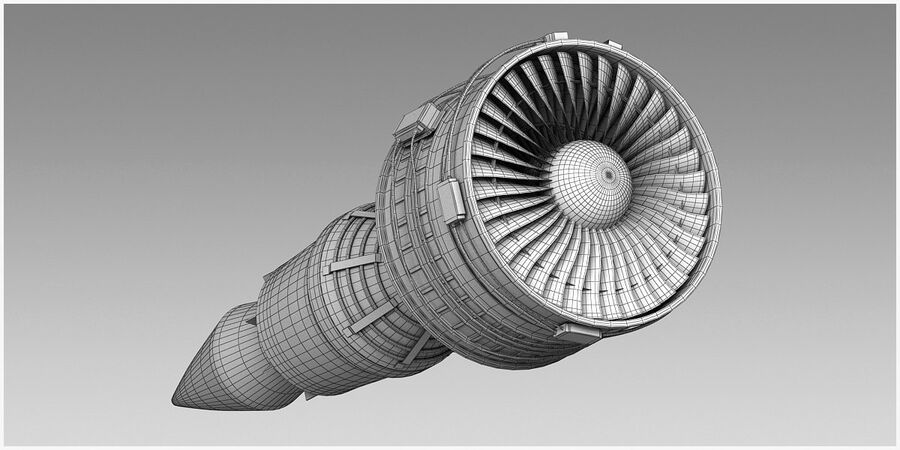 Commercial Aircraft Engine royalty-free 3d model - Preview no. 19