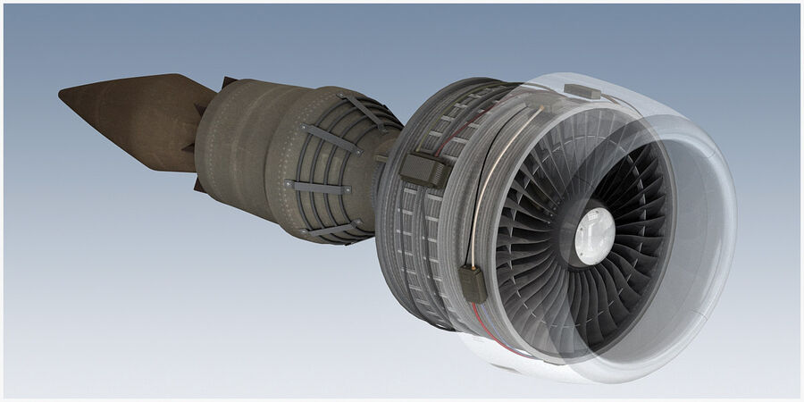 Commercial Aircraft Engine royalty-free 3d model - Preview no. 14