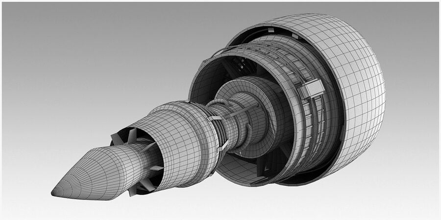 Commercial Aircraft Engine royalty-free 3d model - Preview no. 18