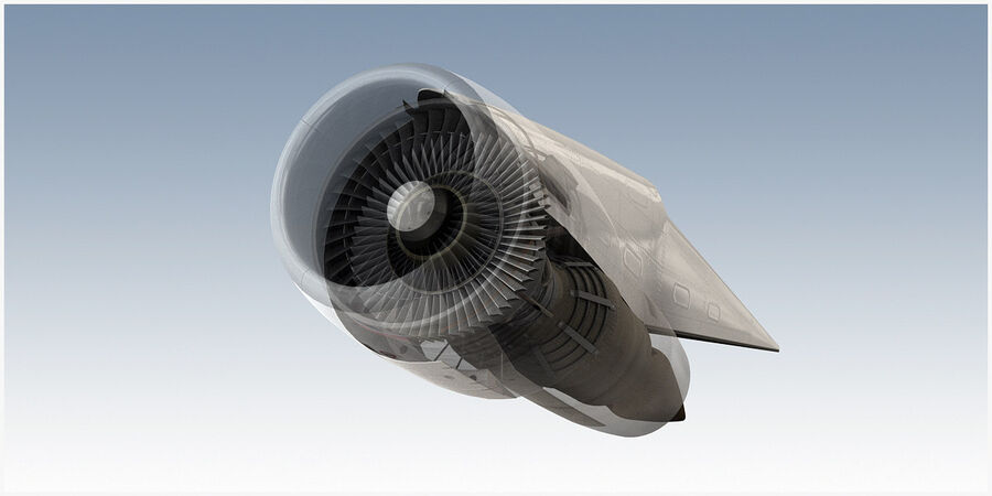 Commercial Aircraft Engine royalty-free 3d model - Preview no. 2