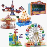 Coleção de jogos de seis parques de diversões 3d model