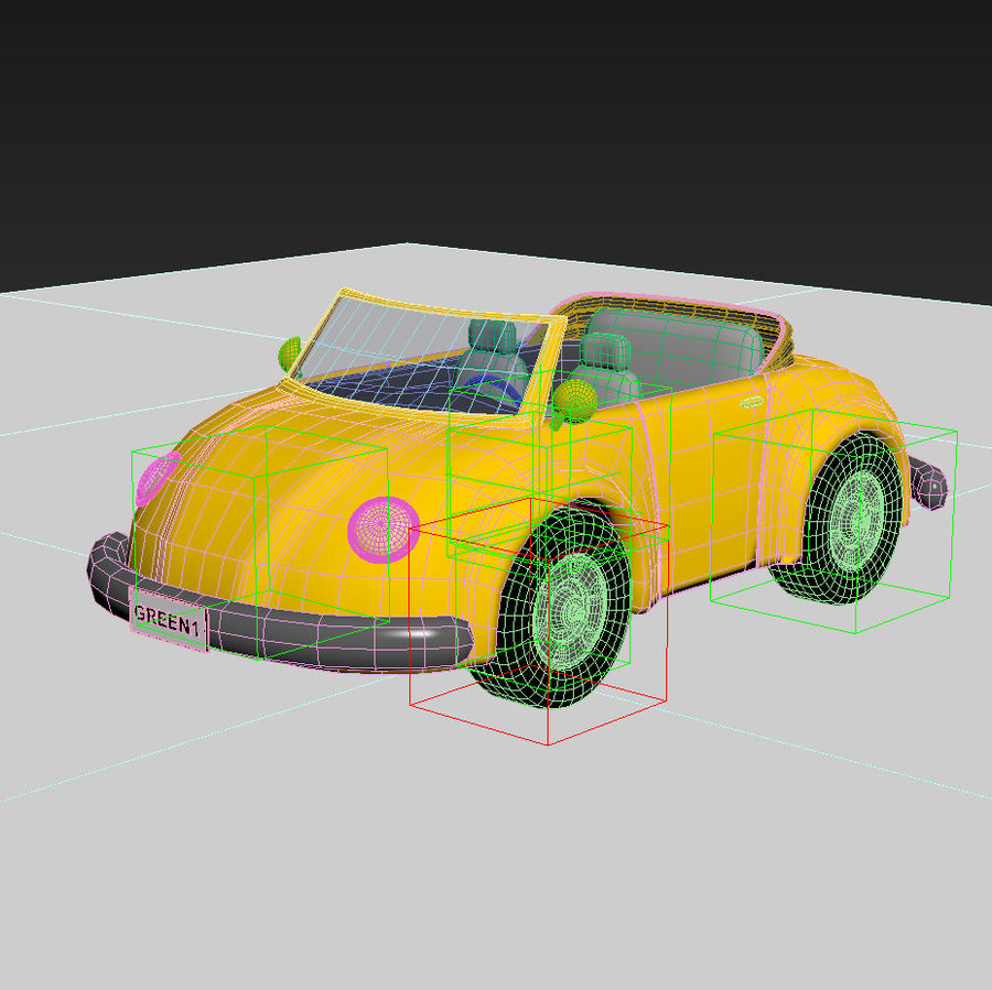 Voiture de dessin animé royalty-free 3d model - Preview no. 5