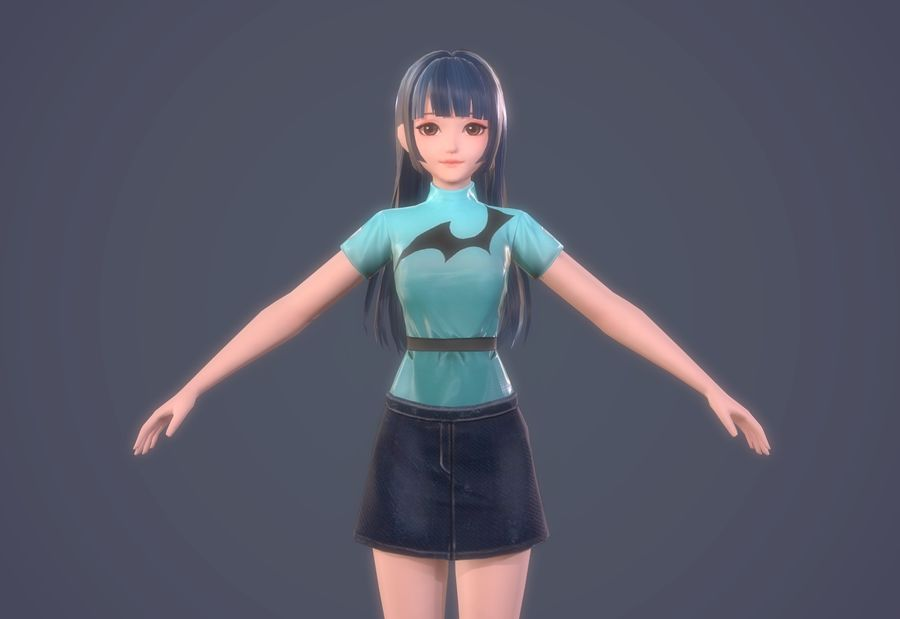 만화 소녀 머리 하녀 여자 캐릭터 royalty-free 3d model - Preview no. 6