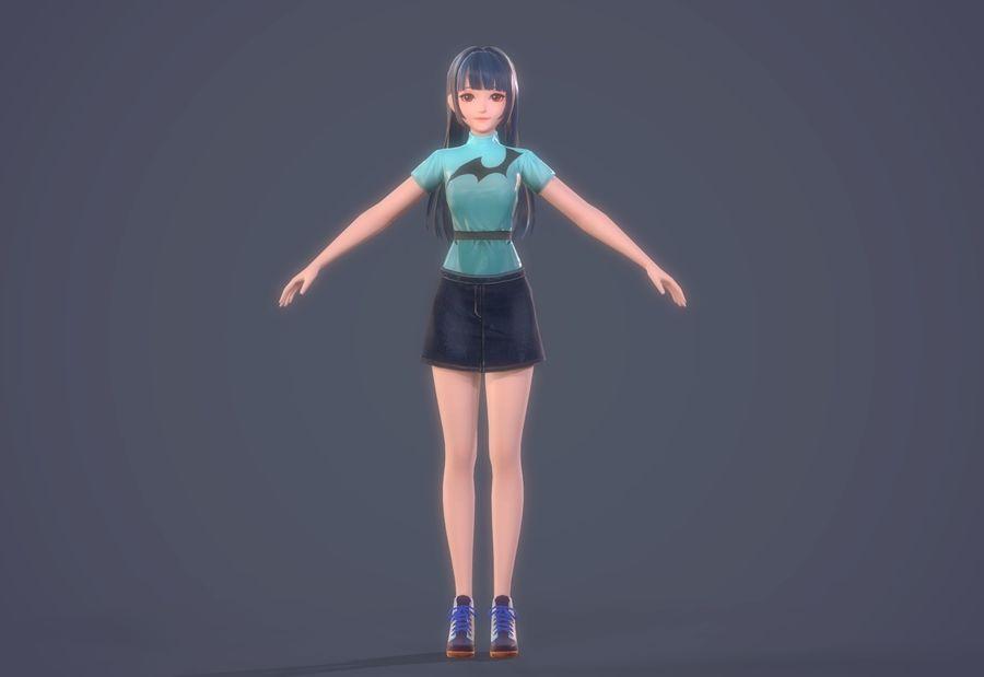 cartoon girl hair maid woman character royalty-free 3d model - Preview no. 11