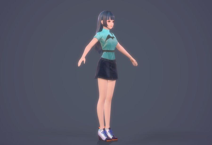 cartoon girl hair maid woman character royalty-free 3d model - Preview no. 13
