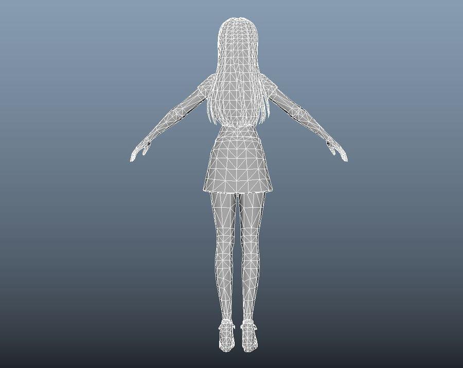 cartoon girl hair maid woman character royalty-free 3d model - Preview no. 24
