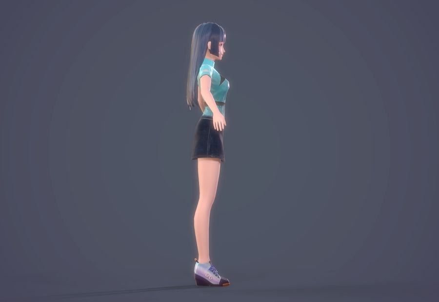 cartoon girl hair maid woman character royalty-free 3d model - Preview no. 4