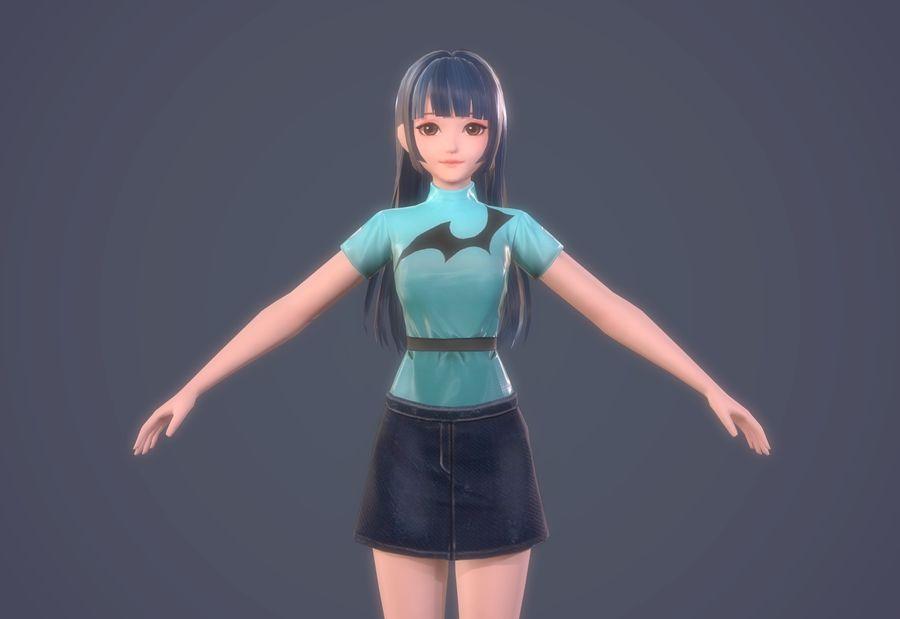 만화 소녀 머리 하녀 여자 캐릭터 royalty-free 3d model - Preview no. 19