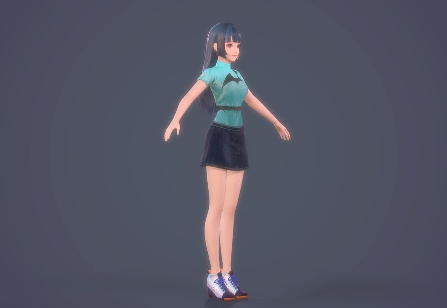 cartoon girl hair maid woman character royalty-free 3d model - Preview no. 3