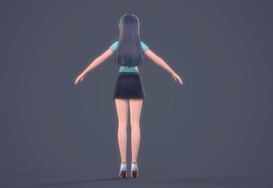 cartoon girl hair maid woman character royalty-free 3d model - Preview no. 18