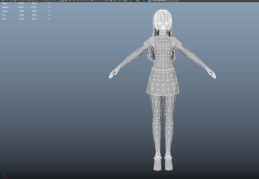 cartoon girl hair maid woman character royalty-free 3d model - Preview no. 25