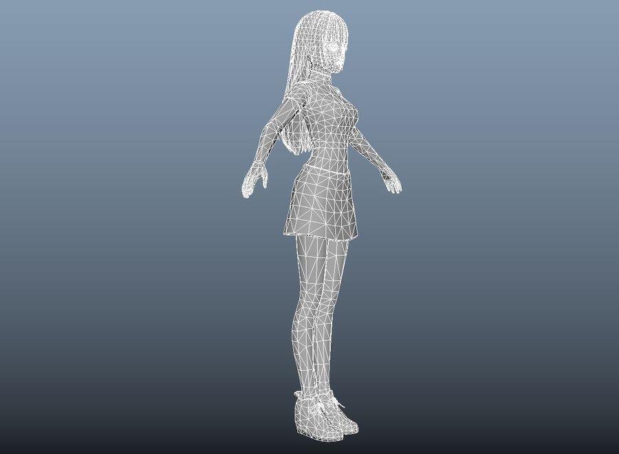 cartoon girl hair maid woman character royalty-free 3d model - Preview no. 17