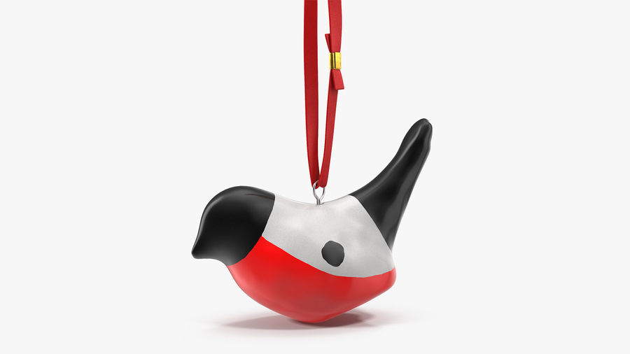 Christmas Toy Bird Red with Rope royalty-free 3d model - Preview no. 2