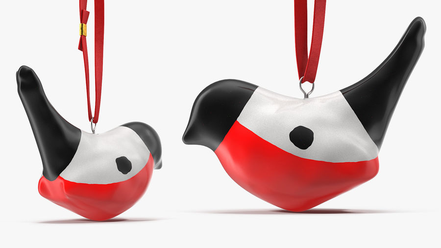 Christmas Toy Bird Red with Rope royalty-free 3d model - Preview no. 5