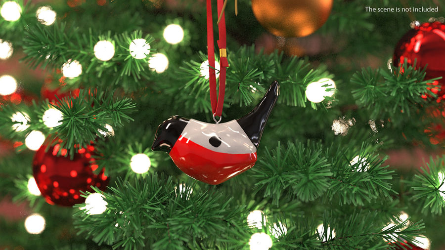 Christmas Toy Bird Red with Rope royalty-free 3d model - Preview no. 3