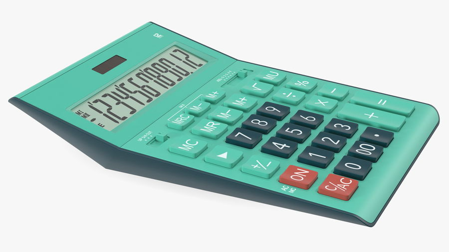 Teal Calculator Generic royalty-free 3d model - Preview no. 7
