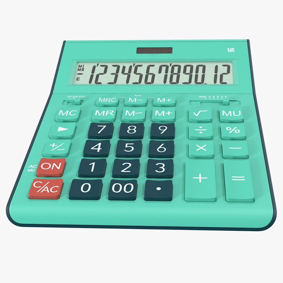 Teal Calculator Generic royalty-free 3d model - Preview no. 1