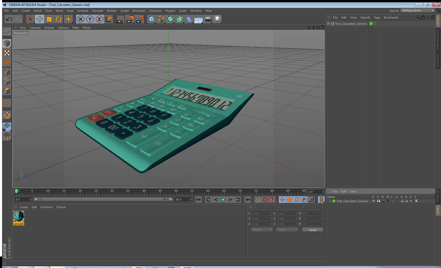 Teal Calculator Generic royalty-free 3d model - Preview no. 20