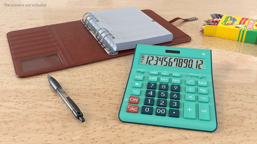 Teal Calculator Generic royalty-free 3d model - Preview no. 3