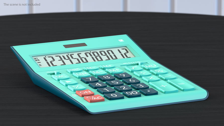 Teal Calculator Generic royalty-free 3d model - Preview no. 4