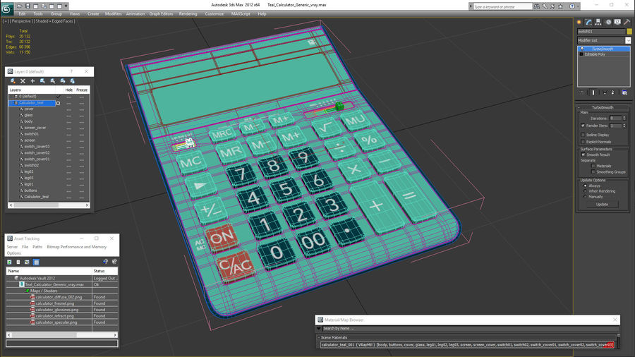Teal Calculator Generic royalty-free 3d model - Preview no. 21