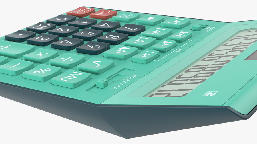 Teal Calculator Generic royalty-free 3d model - Preview no. 9