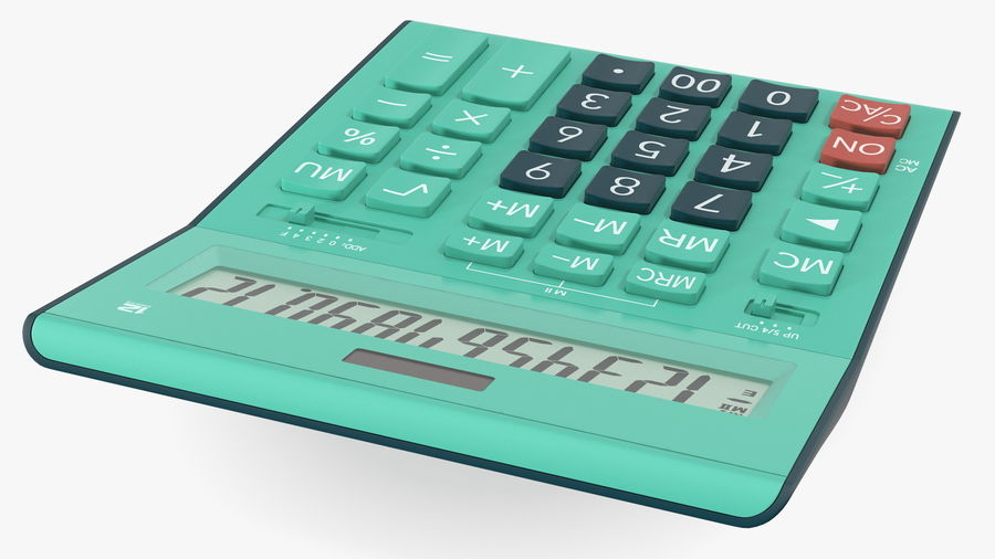 Teal Calculator Generic royalty-free 3d model - Preview no. 8
