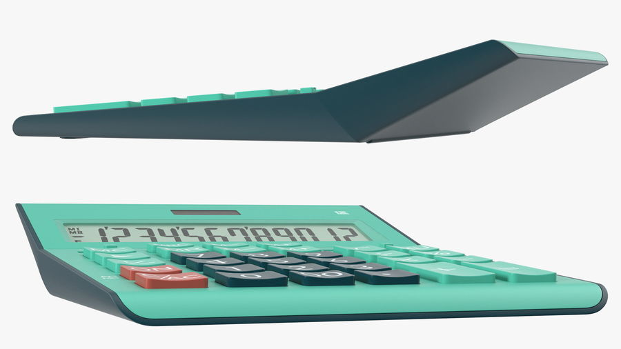 Teal Calculator Generic royalty-free 3d model - Preview no. 6