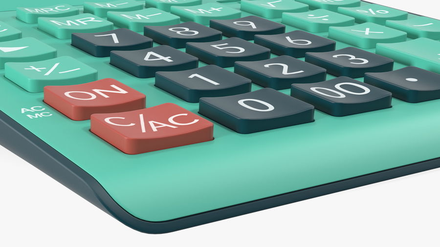 Teal Calculator Generic royalty-free 3d model - Preview no. 11