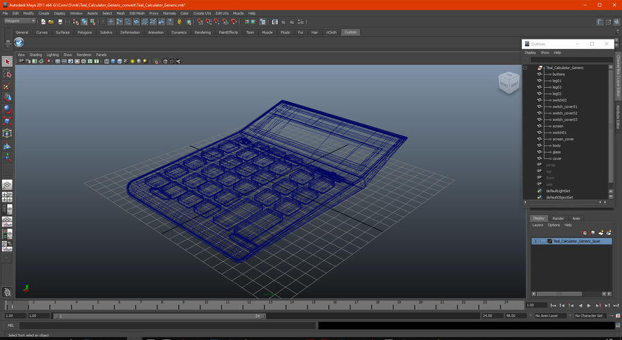 Teal Calculator Generic royalty-free 3d model - Preview no. 19