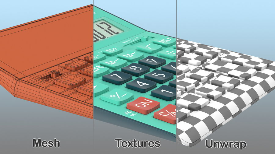 Teal Calculator Generic royalty-free 3d model - Preview no. 5
