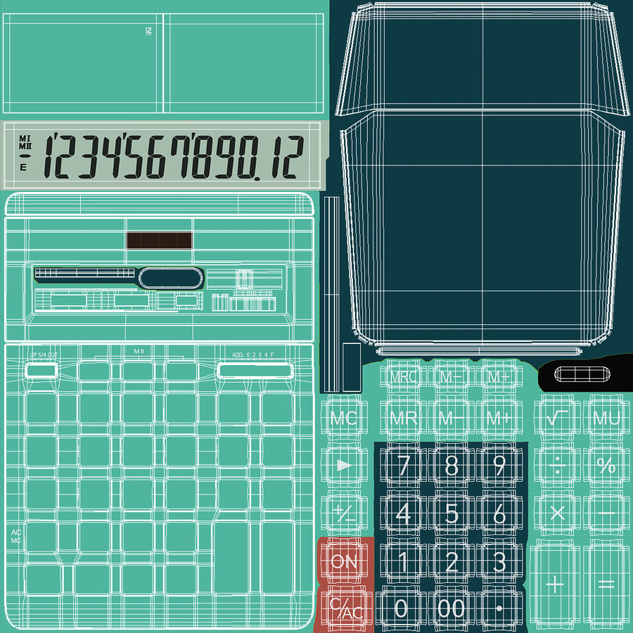 Teal Calculator Generic royalty-free 3d model - Preview no. 17