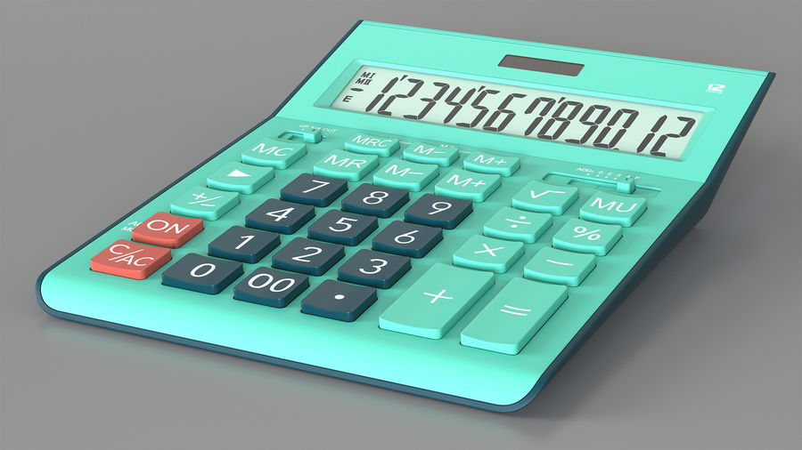 Teal Calculator Generic royalty-free 3d model - Preview no. 2