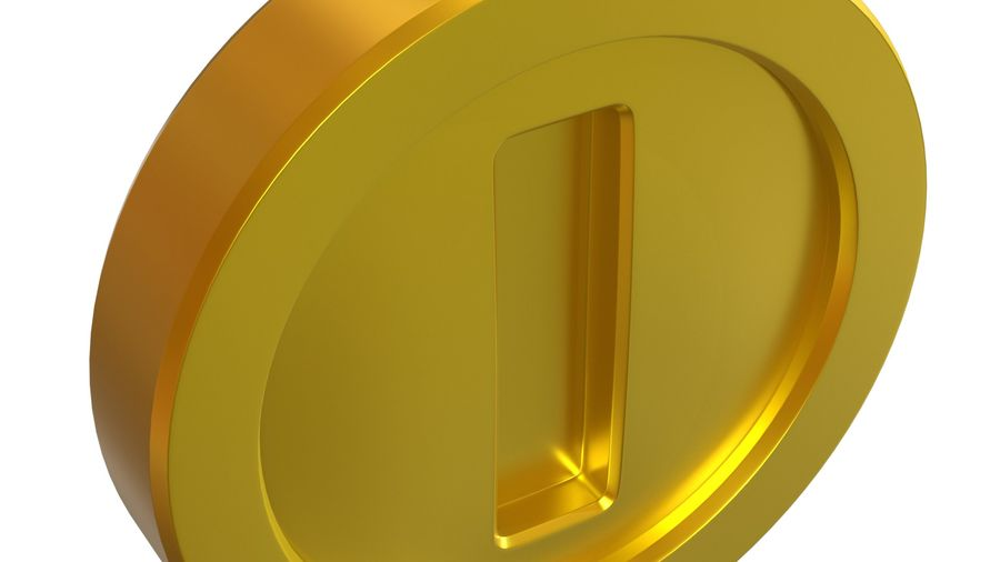 Gold Coin Mario royalty-free 3d model - Preview no. 5