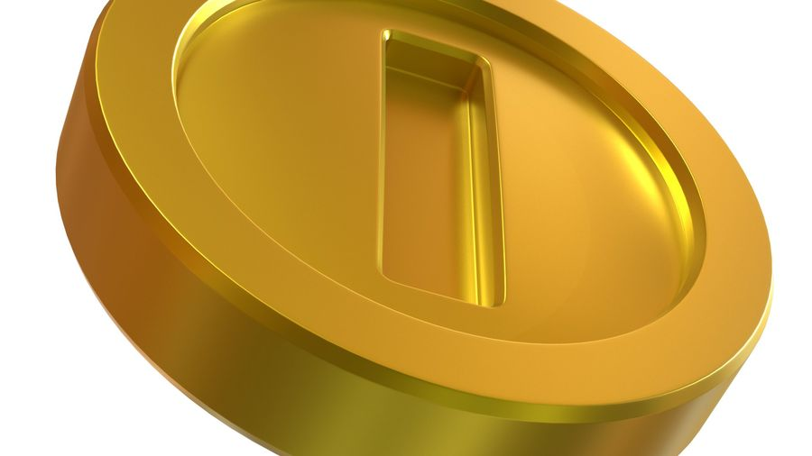 Gold Coin Mario royalty-free 3d model - Preview no. 6