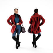 Woman in Red Coat 69 3d model