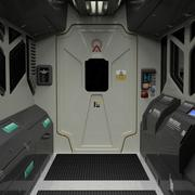 Spaceship / Space Station Corridor Module with Window Right 3d model