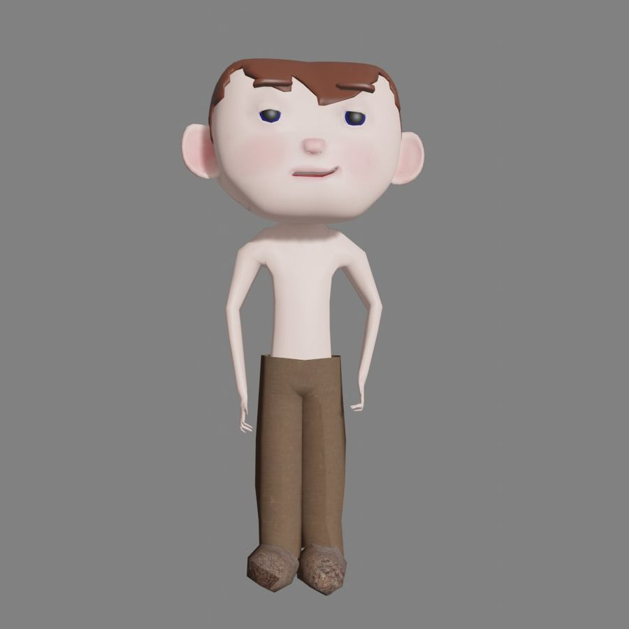 Cartoon Boy Character Rigged royalty-free 3d model - Preview no. 6