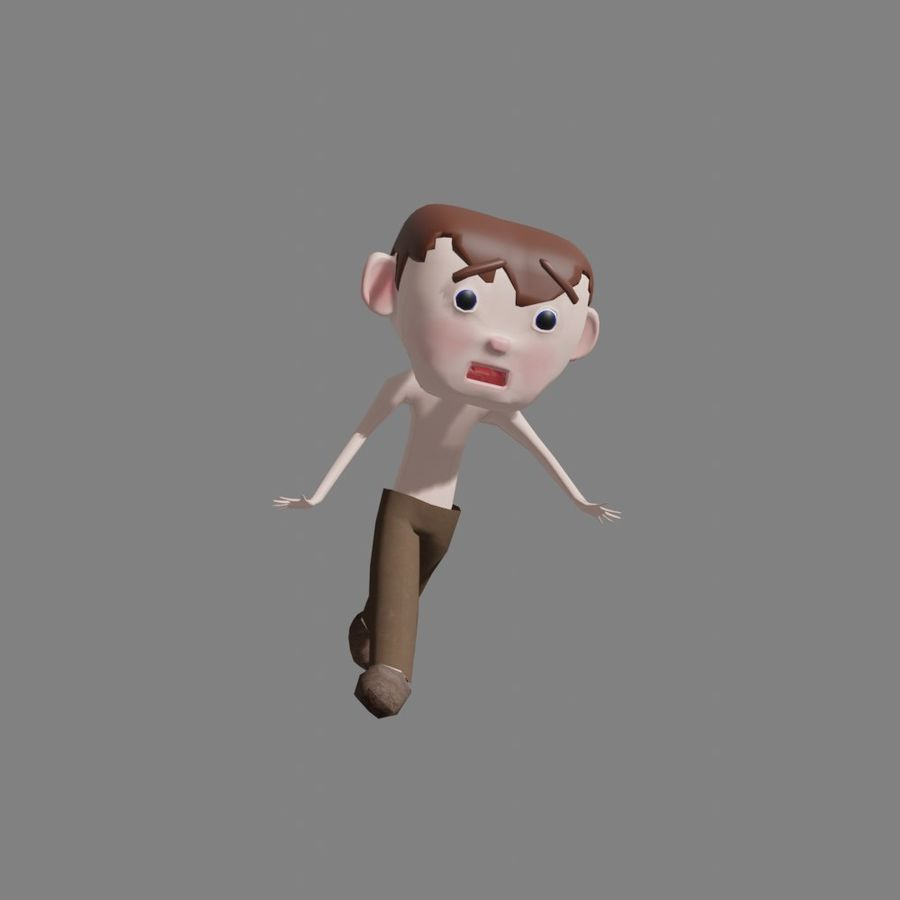 Cartoon Boy Character Rigged royalty-free 3d model - Preview no. 7