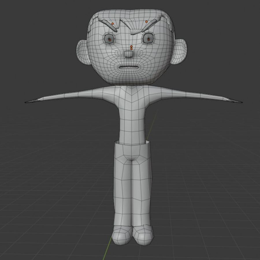 Cartoon Boy Character Rigged royalty-free 3d model - Preview no. 8