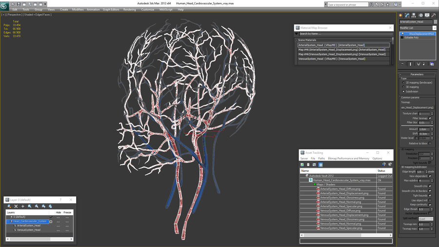 Human Head Cardiovascular System royalty-free 3d model - Preview no. 16
