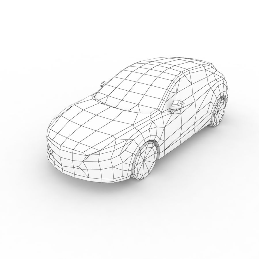 Low Poly Generic Hatchback v03 royalty-free 3d model - Preview no. 7