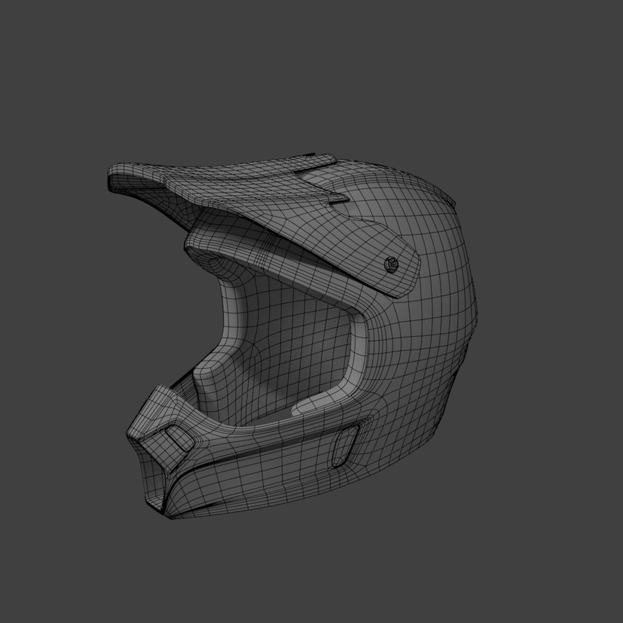 Motocross helmet royalty-free 3d model - Preview no. 4